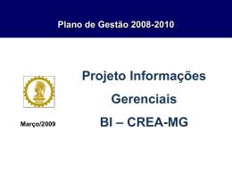 Projeto Informações Gerenciais - BI CREA-MG mar