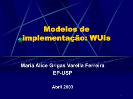 Modelo de implementação: WUIs