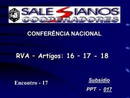 Encontro 17 - RVA - Salesianos Cooperadores
