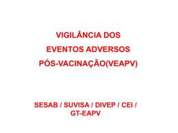 VIGILÂNCIA DOS EVENTOS ADVERSOS PÓS