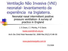 (VNI) neonatal- levantamento da experiência na Inglaterra.