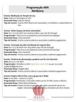 Programação ARN - Abril 2014