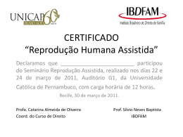 """CERTIFICADO """"Reprodução Humana Assistida"""""""