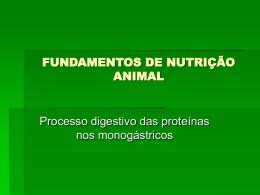 O processo digestivo das proteínas nos monogastricos.