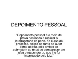 DEPOIMENTO PESSOAL
