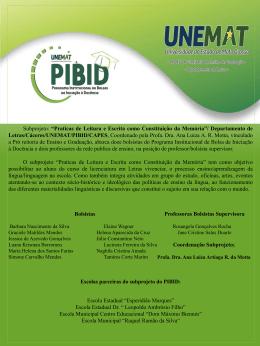 Departamento de Letras/Cáceres/UNEMAT/PIBID/CAPES