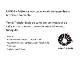EM974 – Métodos computacionais em engenharia térmica e