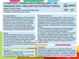 O PARTIDO TRABALHISTA BRASILEIRO NO PARANÁ