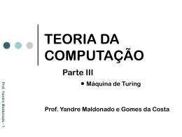 TEORIA DA COMPUTAÇÃO III
