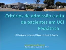 Critérios de admissão em UTI Pediátrica