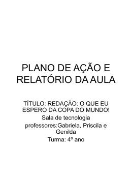 PLANO DE AÇÃO E RELATÓRIO DA AULA
