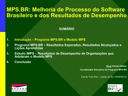 Apresentação: MPS.BR – Melhoria de Processo do