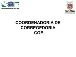 Corregedoria - CGE - Controladoria Geral do Estado