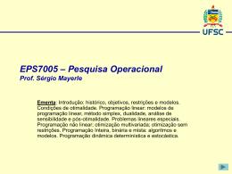 Programação Linear - Prof. Sérgio Mayerle