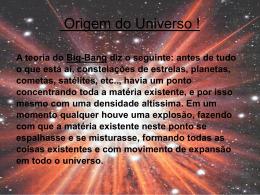 Origem do Universo !