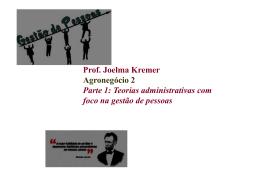 Prof. Joelma Kremer Agronegócio 2 Parte 1: Teorias administrativas