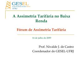 GESEL: A Assimetria Tarifária no Baixa Renda - Nuca