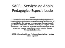 SAPE – Serviço de Apoio Pedagógico Especializado