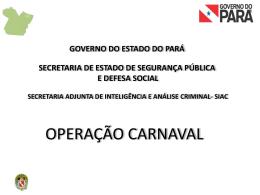 Balanço das ocorrências policiais do carnaval 2012