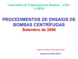 Ensaio de recepção de bombas no LEB