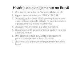 História do planejamento no Brasil