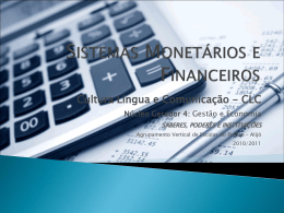 Sistemas Monetários e Financeiros.
