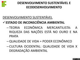 DESENVOLVIMENTO SUSTENTÁVEL E