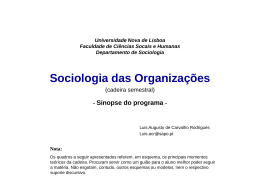 O que é a organização - Universidade Nova de Lisboa