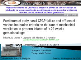 Preditores de falha do CPAPnasal precoce e efeitos de vários