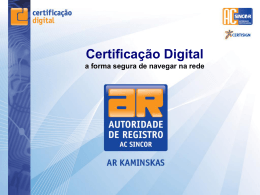 Certificado Digital - Kaminskas Corretora de Seguros