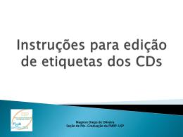 Instruções para edição de Etiqueta dos CDs