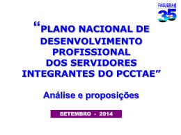 O Plano Nacional de Desenvolvimento Profissional dos