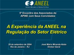 A experiência da ANEEL na regulação do setor elétrico