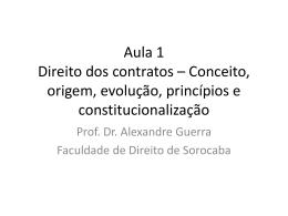 Direito dos contratos – Aula 1 Conceito, origem