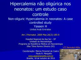 Hipercalemia não oligúrica nos neonatos