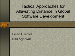 Tactical Approaches for Alleviating Distance in Global Software