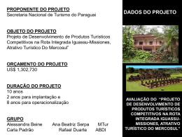 projeto de desenvolvimento de produtos turísticos