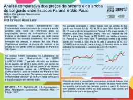 Análise comparativa dos preços do bezerro e da arroba do