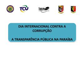 Apresentação do Relatório Diagnóstico da Transparência Pública