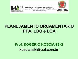 Planejamento Orçamentário PPA, LOA e LDO – Aula Inaugural