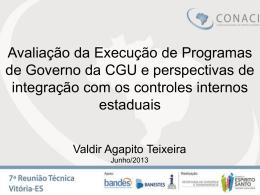 Apresentação Avaliação Programas de Governo – Valdir