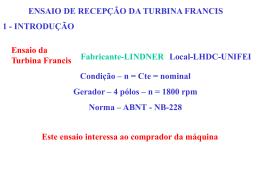 Ensaio de recepção de turbina Francis