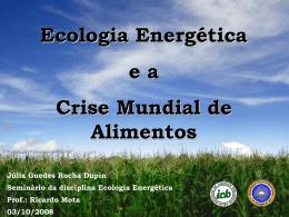 Ecologia Energética e a Crise Mundial de Alimentos Júlia Guedes