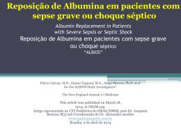 Reposição de albumina em pacientes com sepse grave ou choque