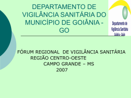 DEPARTAMENTO DE VIGILANCIA SANITARIA DO
