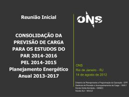 Reunião Inicial CONSOLIDAÇÃO DA PREVISÃO DE CARGA PARA