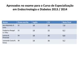 Aprovados no exame para o Curso de Especialização2013-2014