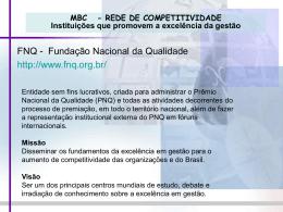 MBC - REDE DE COMPETITIVIDADE Instituições que promovem a