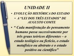 UNIDADE II EVOLUÇÃO HISTÓRICA DO ESTADO A