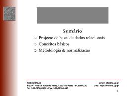 Projecto de BD e normalização